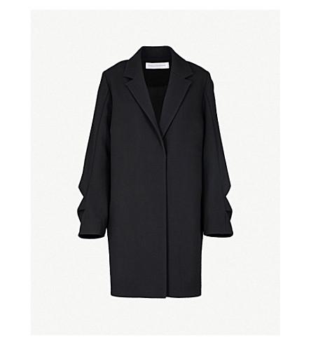 VICTORIA VICTORIA BECKHAM Ruffled wool coat (Black