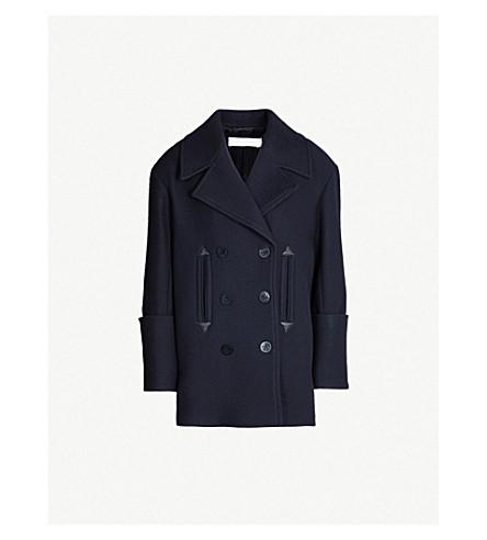 VICTORIA VICTORIA BECKHAM Leather-trimmed oversized wool-blend coat (Midnight