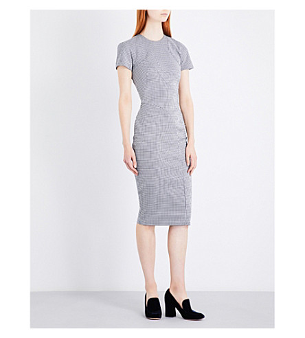 VICTORIA BECKHAM Houndstooth woven dress (Navy/white