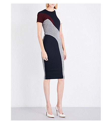 VICTORIA BECKHAM T-shirt Pannelled wool-blend midi dress (Black/white