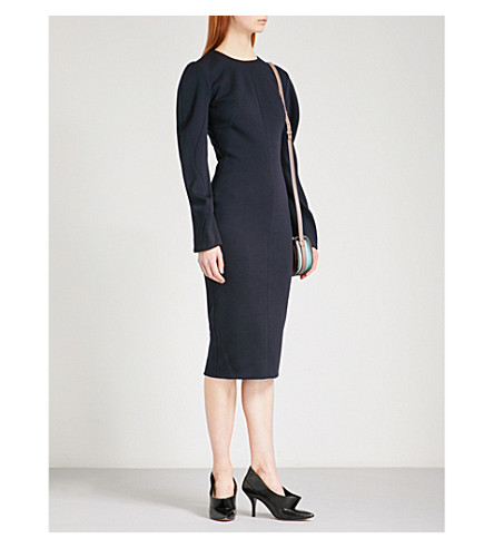 VICTORIA BECKHAM Draped-sleeve fitted stretch-wool dress (Navy