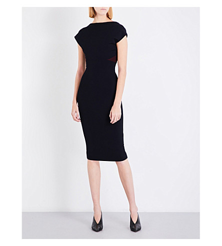 VICTORIA BECKHAM Backless stretch-knit midi dress (Navy