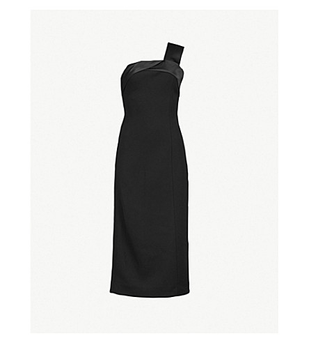 VICTORIA BECKHAM Sash-panel crepe midi dress (Black