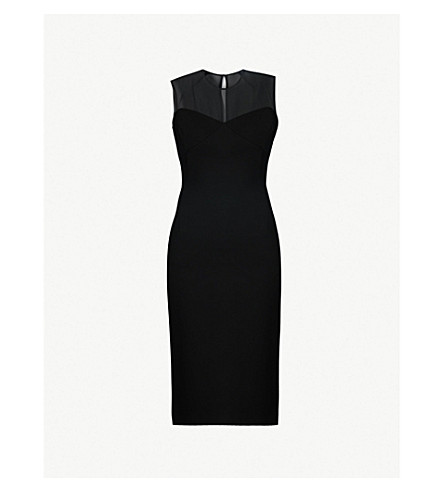 VICTORIA BECKHAM Mesh and crepe knee-length dress (Black