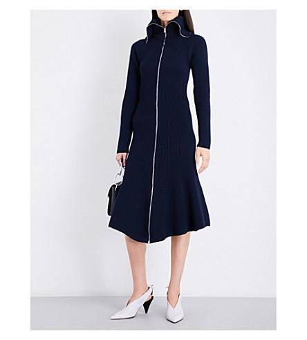 VICTORIA BECKHAM Zip-up wool dress (Navy