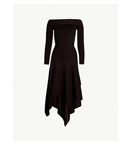 VICTORIA BECKHAM Off-the-shoulder stretch-knit midi dress (Black