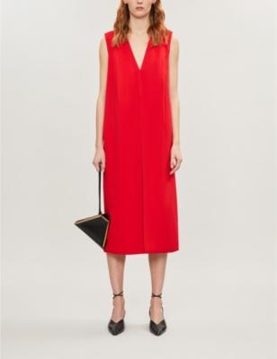 Sleeveless V-neck crepe midi dress
