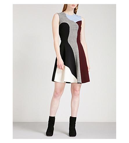 VICTORIA BECKHAM Panelled Flare woven mini dress (Black/white