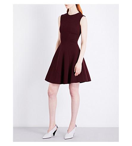 VICTORIA BECKHAM Panelled Flare woven mini dress (Wine