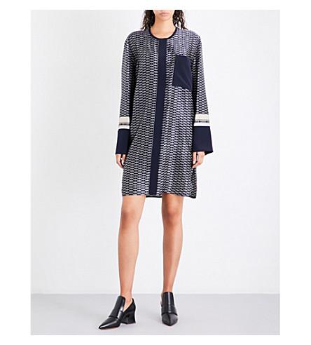 VICTORIA VICTORIA BECKHAM Geometric-print silk-twill dress (Vintage+chain-merlot