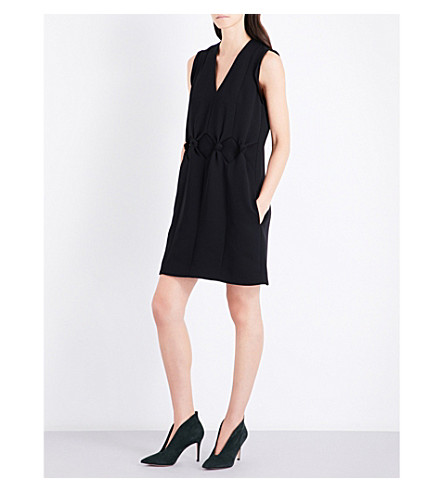 VICTORIA VICTORIA BECKHAM V-neck sleeveless fitted crepe dress (Black