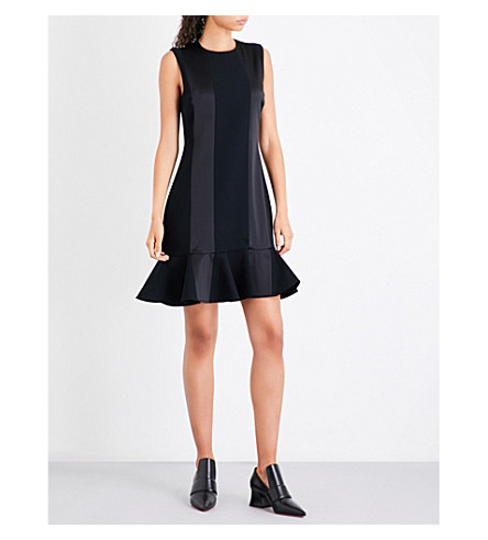 VICTORIA VICTORIA BECKHAM Flounce-hem silk and crepe mini dress (Black