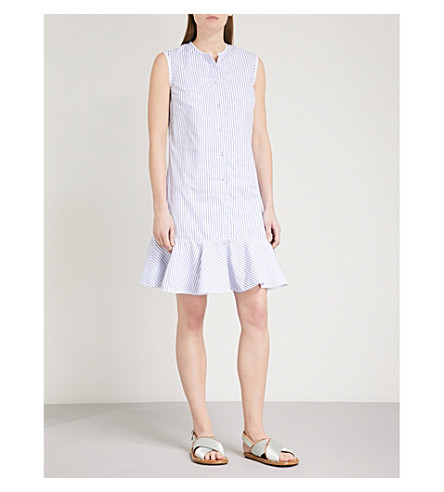 VICTORIA VICTORIA BECKHAM Flounce-hem striped cotton dress (White/blue
