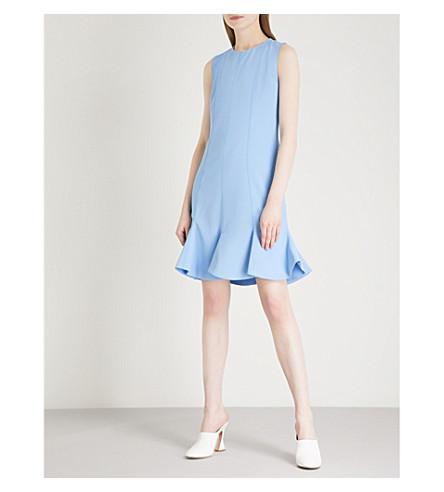 VICTORIA VICTORIA BECKHAM Flounce hem crepe dress (Lagoon+blue