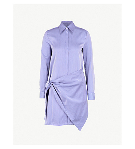 VICTORIA VICTORIA BECKHAM Striped wrap-front crepe shirt dress (Midnight+white