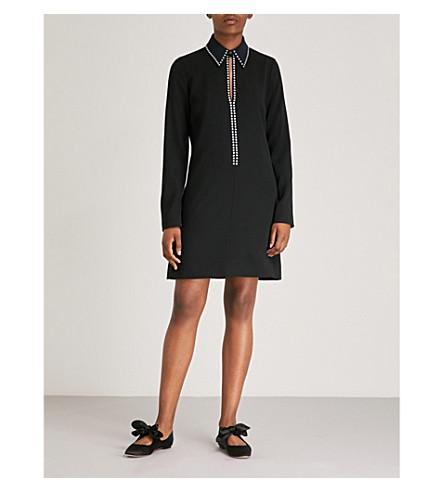 VICTORIA VICTORIA BECKHAM Crystal-embellished crepe dress (Black