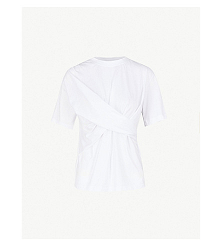 VICTORIA VICTORIA BECKHAM 十字领带棉 T 恤 (白色
