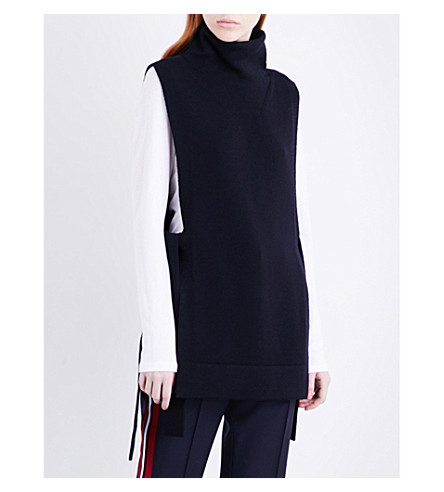 VICTORIA VICTORIA BECKHAM Turtleneck sleeveless wool top (Midnight