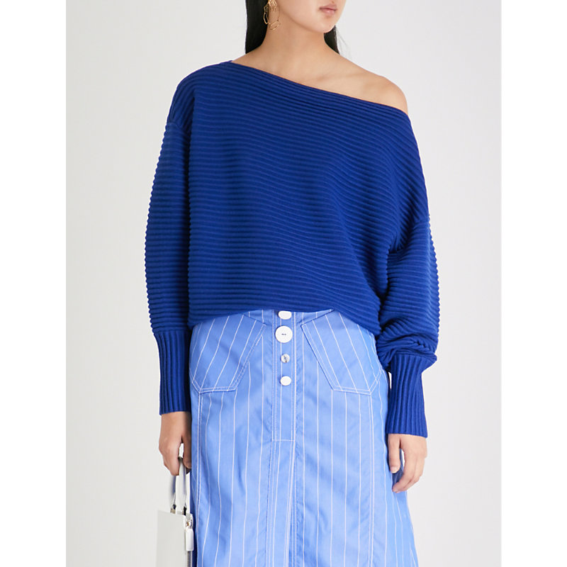 ONE-SHOULDER RIBBED WOOL SWEATER