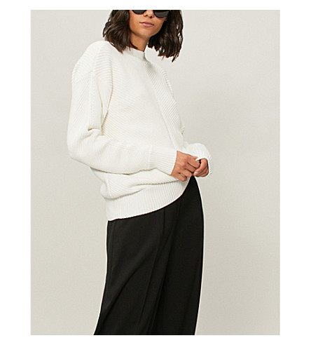 VICTORIA VICTORIA BECKHAM Buttoned-back woven-knit jumper (Ivory
