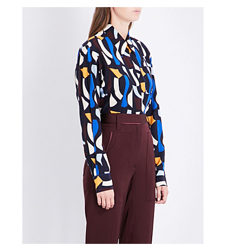 VICTORIA BECKHAM Patch Pocket silk shirt (Navy+multi