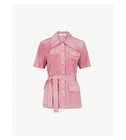 VICTORIA BECKHAM 皮带绒面革 safari 夹克 (浅色 + 粉红色