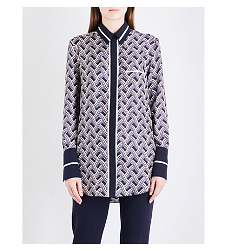 VICTORIA VICTORIA BECKHAM One Pocket silk-twill shirt (Woven+stripe+midnight