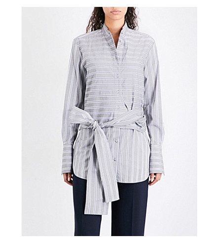 VICTORIA VICTORIA BECKHAM Striped tied cotton shirt (Grey/white