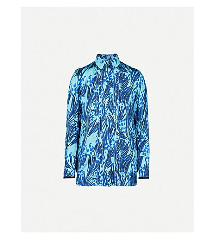 VICTORIA VICTORIA BECKHAM Abstract grass-print satin-twill shirt (Midnight lapis