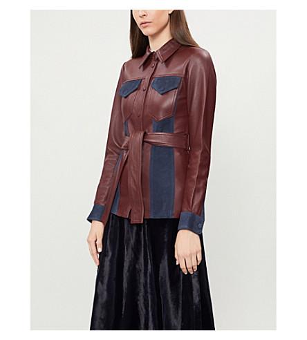 VICTORIA VICTORIA BECKHAM Contast-panel leather jacket (Garnet+midnight