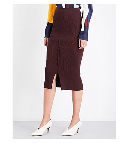 VICTORIA BECKHAM Fitted ribbed-knit pencil skirt (Burgundy
