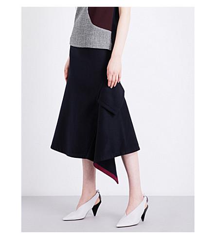 VICTORIA BECKHAM Asymmetric Pocket wool midi skirt (Navy