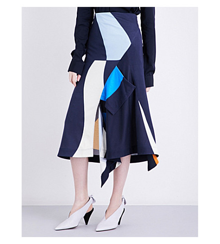 VICTORIA BECKHAM Asymmetric pocket jersey skirt (Navy+multi