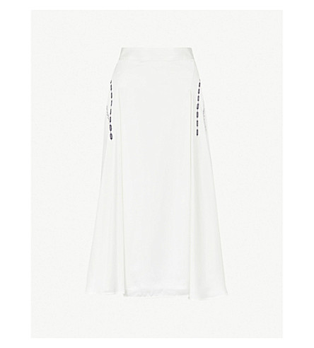 VICTORIA BECKHAM Lace-print silk-satin skirt (Off white/black