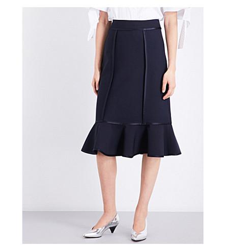 VICTORIA VICTORIA BECKHAM Flounce-hem fitted high-rise woven skirt (Midnight