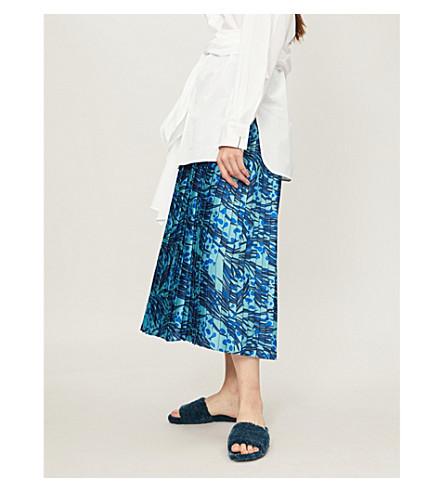 VICTORIA VICTORIA BECKHAM Grass-print pleated satin midi skirt (Midnight lapis