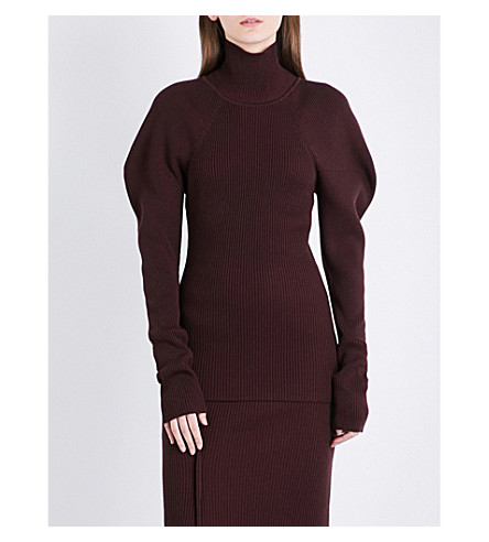 VICTORIA BECKHAM Turtleneck knitted jumper (Burgundy