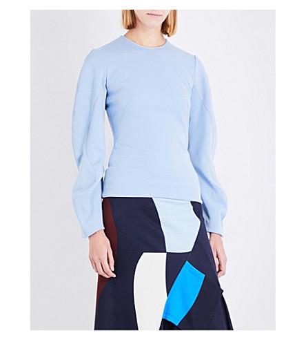VICTORIA BECKHAM Drape Sleeve wool top (Light+blue