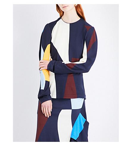 VICTORIA BECKHAM Geometric-print woven top (Navy+multi