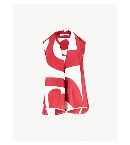 VICTORIA BECKHAM抽象-打印披上真丝斜纹衫 (Bordeaux+ 关闭 + 白色