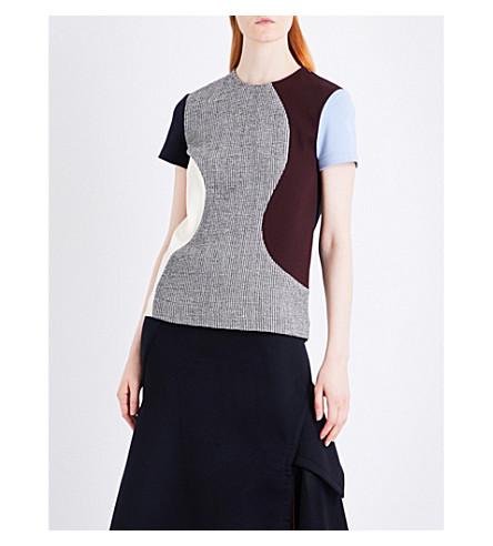 VICTORIA BECKHAM Panelled T-shirt wool-blend top (Black/white