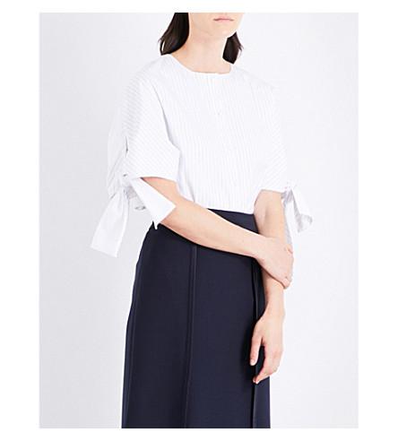 VICTORIA VICTORIA BECKHAM Bow-sleeve cotton-poplin shirt (White