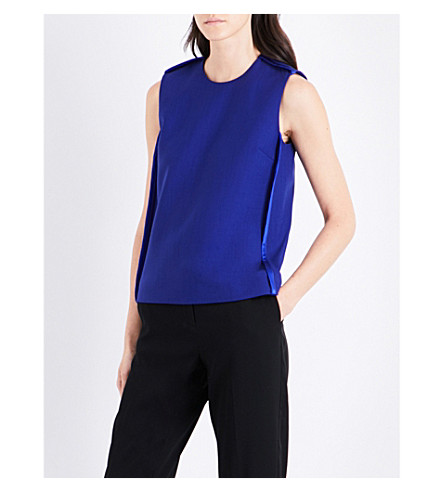 VICTORIA VICTORIA BECKHAM Silk-trim sleeveless woven top (Indigo