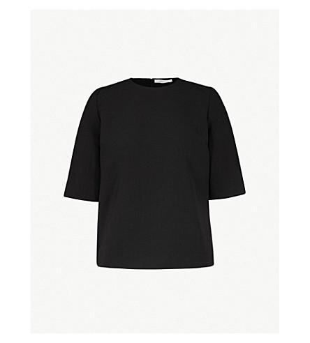 VICTORIA VICTORIA BECKHAM Buttoned-cuff wool-crepe top (Black