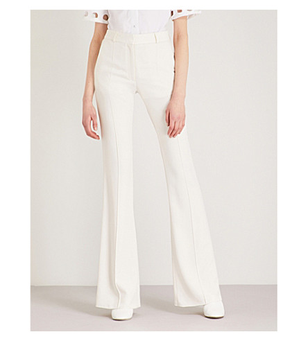 VICTORIA BECKHAM High-rise slim-fit woven flared trousers (Vanilla