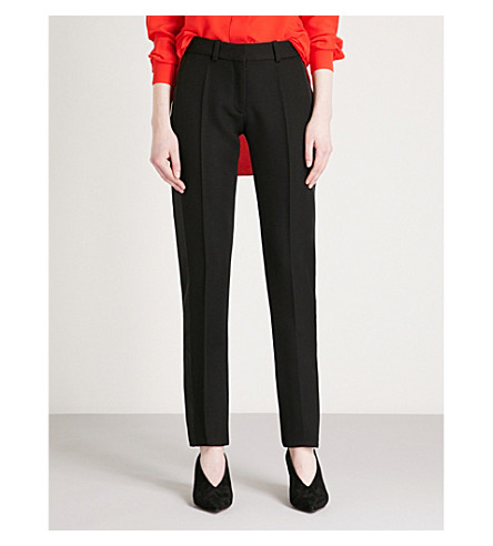 VICTORIA BECKHAM Satin-trimmed mid-rise slim-fit grain de poudre wool trousers (Black