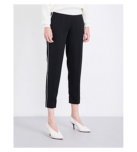 VICTORIA VICTORIA BECKHAM Fluid tapered cropped satin trousers (Black