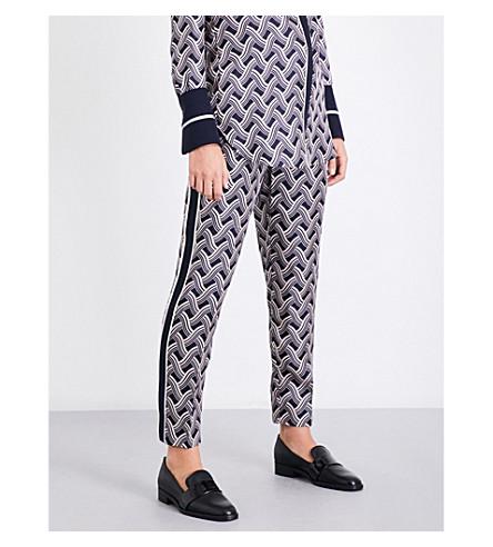 VICTORIA VICTORIA BECKHAM Woven-stripe slim-fit mid-rise silk-twill trousers (Woven+stripe+midnight