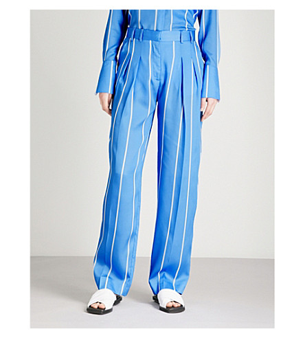 VICTORIA VICTORIA BECKHAM Striped wide-leg high-rise satin trousers (Lagoon+blue