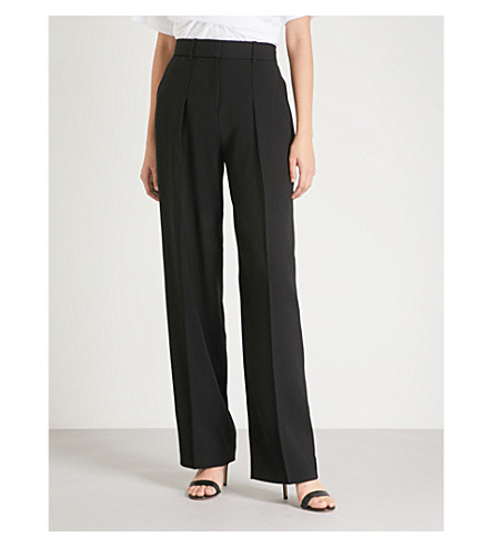 Official Site Buy Cheap Fashion Style VICTORIA VICTORIA BECKHAM Wide-leg high-rise wool-crepe trousers Black 6mAqgXmrOt